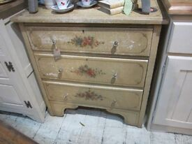 CHEST OF DRAWERS CRACKLE GLAZE WITH FLORAL DETAIL GLASS HANDLES FRENCH FARMHOUSE STYLE