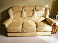Leather Sofa and Two Electirc Reclining Arm chairs Italian made
