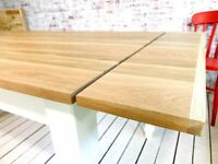 Extending Oak AB Grade Farmhouse Dining Table - All Sizes - Any Farrow & Ball Colour