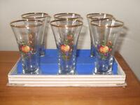 6 Vintage Sherry Glasses 1960's Fruit Design Boxed