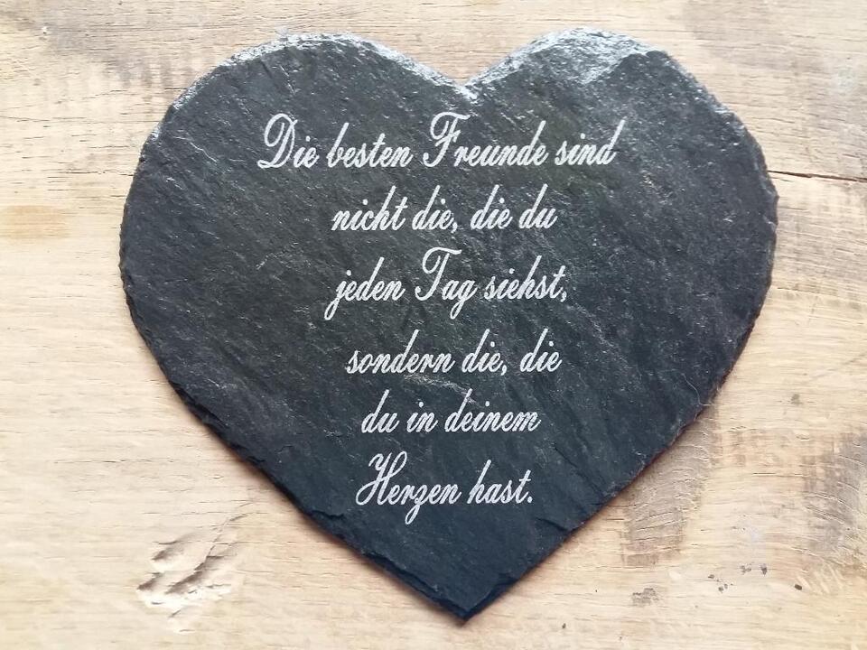 Schiefer Herz 17 X 15 Mit Graviertem Spruch Beerdigung Grab In