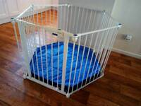 Lindam Safe & Secure playpen. White metal with blue playmat