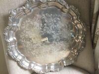 Viners Vintage Silver Metal Tray
