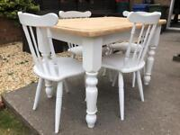 Lovely 4ft Shabby Chic Farmhouse Pine Table and 4 Chairs