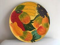 Hand painted wooden fruit and tray