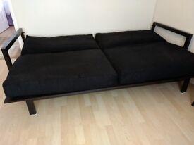 Sofa Bed. Black Frame and Cushions.