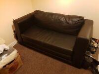 Ikea black faux leather double sofa bed