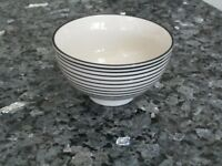 Black and White Stripe Small Bowl - Set of 2 - IB Laursen Casablanca Danish Design*NEW - LABELLED*