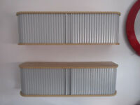 Silver & Beech Roller Door Wall Mount Shelves Shelving Shelf - USED