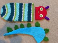 Caterpillar and dinosaur knitted props for new born photo shoot
