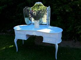 Vintage French Louis XV style dressing console table triple mirror
