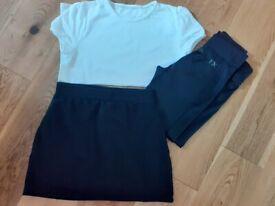 GIRLS PE KIT UNIFORM ~ CLOTHES BUNDLE AGE 10 ~ 2 T-SHIRTS, SKORT & LEGGINGS ~ ALL EXCELLENT ~ £4