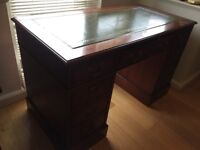 Green leather pededstal desk and captain's chair