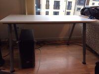 120x60 cm white/silver-colour IKEA desk - ADJUSTABLE LEGS - Like new!