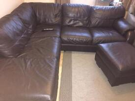 Corner sofa - real full dark brown leather