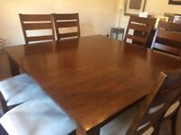 Dark Wood Square Dining Table w/ 8 Matching Chairs