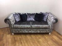 Modern Steel Crushed Velvet Chesterfield 3 seater Sofa