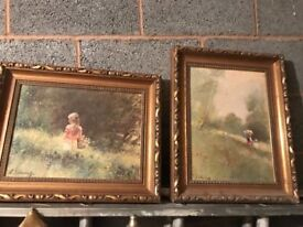 Two paintings and frames by adolf sehring