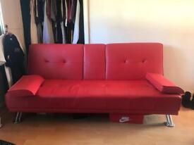 Red leather sofa bed collapsable fold down gaming chair