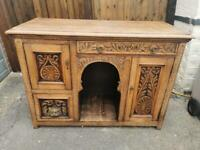 Beautiful Antique Solid Oak Carved Sideboard