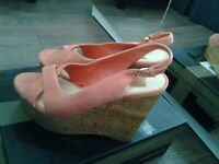Coral Suede High Wedge Sandals Size 6 (cost £69.99)