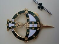 Irish 'Tara' brooch and shamrock brooch