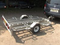 VERY RARE ALLOY MOTORCYCLE TRANSPORTER CAR TRAILER WITH RAMP ETC..