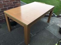 Light Oak Effect Dining Table and 6 Faux Leather Chairs