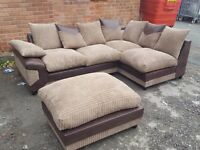 Cute 1 month old Brown & beige jumbo cord corner sofa & footstool.excellent condition.can deliver