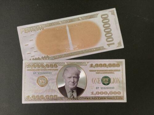 President Donald Trump $1 MILLION White Gold Holographic Embossed Bank Note