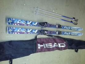 Skis Fisher Revolution 1800mm with poles and travel bag vgc
