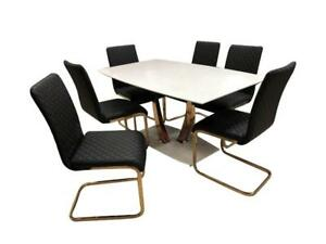 Black 7 PC Dining Set with Golden Legs on sale (C2C802)