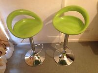 2 Kitchen Bar Stools with Green Moon Seats and Chrome Base - Height Adjustable And Swivel Chairs