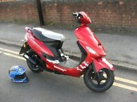 50cc lexmoto scout scooter, 16 plate ,1900 miles one lady owner from new, mot exempt, £17 a year tax