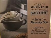 Brand new mason cash set of 3 grey measuring cups