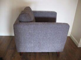 Beautiful Comfortable Sam Fabric Armchair Lisbon in Dark Grey Dunelm Collection