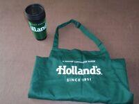 Genuine Holland's Pies Apron and Travel Mug set