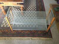 Wood and metal shoe storage rack