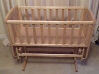 Mothercare gliding crib and mattress for sale. Excellent condition. £60