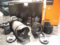 Boxed Sony Alpha a7 Compact System Camera + 28-70mm Lens with Sony 55mm f1.8 FE Carl Zeiss Lens