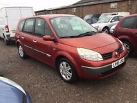 55 REG RENAULT GRAND SCENIC 7 SEATER LOW MILEAGE IN VGCONDITION IN MET RED CLOTH TRIM ALLOY WHEELS