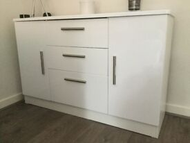 Vista White High Gloss Sideboard For Sale Like New.
