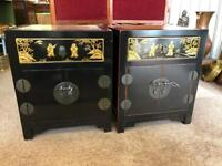Lacquered Bedside Cabinets with Gold Images