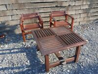 Solid Hard wood Garden Table and 2 Chairs.