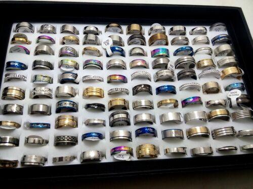 100pcs Mixed Lot Stainless Steel rings Wholesale Men Women Fashion Jewelry Lots