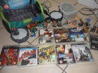SONY PS3 SLIMLINE & 25 GAMES & 16 SKYLANDER FIGURES & BAG