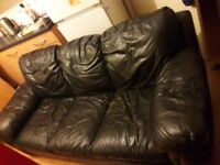 3 seater leather black sofa