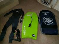 Bodyboarding Started Kit (Board, Wetsuit, carry case, & spares)