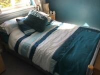 Double bed frame, mattress if wanted. Aluminium look.