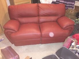 2 seater red leather recliner